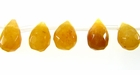 Yellow Jade Briolette Faceted Beads 6x8mm