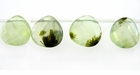 Green Prehnite, Faceted Flat Briolette Beads 12mm