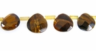 Tiger Eye Flat Briolette Faceted 10x4mm