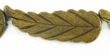 Burnt Horn Leaf Beads 11x33mm
