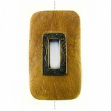 Rectangular Metal Framed Nangka  Wood Pendant