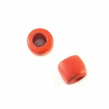 Coral Pink Wood Tube Beads