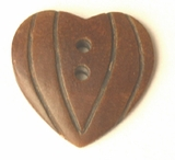 Burnt Horn Carved Heart Pendant