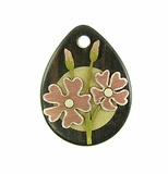 Drop Wood Pendant - Japanese Primrose Flower Design
