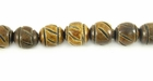Burnt Horn Carved Round Beads 8mm