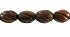 Burnt Horn Carved Oval Beads 12x17mm