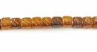 Golden Horn Carved Cube Beads 5mm