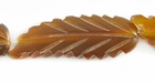 Golden Horn Leaf Beads 11x33mm