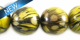 Nangka Round Wood Bead Embedded w/ Guinea Feather 16mm