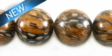 Bayong Round Wood Bead Embedded w/ Guinea Feather 16mm