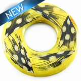 Nangka wood donut embedded w/ guinea feather 51mm w/ 21mm Center Hole
