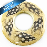 White wood donut embedded w/ guinea feather 51mm w/ 21mm Center Hole