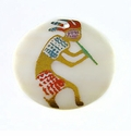Makabibi Round Painted Embossed Kokopelli