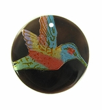 Tab Shell Round Painted Hummingbird Pendant
