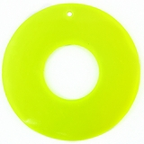 Neon Yellow Capiz Donut Shell Pendant With Top Drilled Hole 46mm