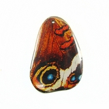 Red-blue Eye Butterfly Wing Paper Print Wrapped Wood Pendant