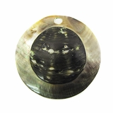 Blacklip Round Embossed Shell Pendant 50mm
