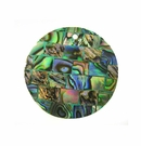Paua (Blocking On Green) Round Shell Pendant  30mm