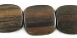 Tiger Ebony Wood  Flat Square Beads 16mm (5mm thick)