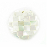 Chamber Nautilus White Blocking Round Shell Pendant  30mm