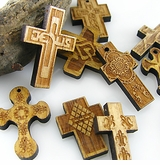 Laser-engraved Wood Cross Pendants