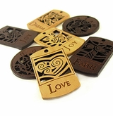 Laser Carved Message Wood Pendants