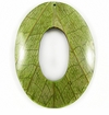 "Oval Coco Back  ""Cab-Caban""  Leaf Inlay Pendant"