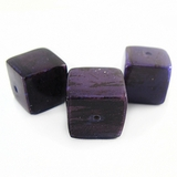 Violet Cube Banana Bark Inlaid Beads