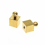 Cube With Ring Gold Plated Memory Wire End Caps