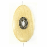 Oval Metal Framed Whitewood Pendant