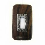 Rectangular Metal Framed Ebony Wood Pendant