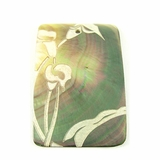 Laser-etched Rectangular Blacklip Shell Pendant