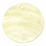 Light Yellow/Gold Capiz Shell Pendants 25mm