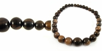 Round Tiger Ebony Wood Graduated Beads 10-25mm