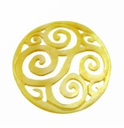 "Carved Mother of Pearl Shell ""Swirl"" Round Pendant"