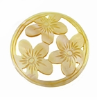 "Carved Mother of Pearl Shell ""3-Flower"" Round Pendant"