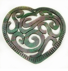 Carved Blacklip Shell Ornate Heart Pendant