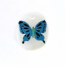 Makabibi Oval Painted Embossed Butterfly Turquoise