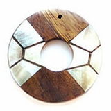 Donut Robles Wood with Blacklip-inlay Pendant 40mm