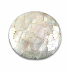 Mosaic White Abalone Shell Inlaid Disc Pendant 40x10mm