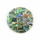 Round Paua Shell Blocking Inlay Pendant 30mm (on-blue-backing)
