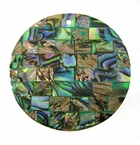 Paua (Blocking On Green) Round Shell Pendant 40mm