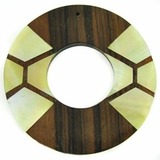 Donut Ebony Wood with MOP-inlay Pendant 60mm