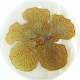 "Metallic Gold ""Gumamela"" Flower Design Round Makabibi"