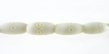 White Oval Carved Bone Beads 8mmx6mm
