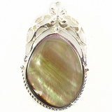 Silver Plated Framed Pendant w/ Teardrop Brownlip Shell Inset