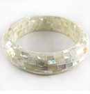 White Abalone Blocking Half-Round Bangle