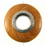 Round Metal Framed Bayong Wood Pendant