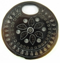 "Carved Brownpen Shell ""Oval-Hole"" Round Pendant"