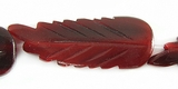 Red Horn Leaf Beads 11x33m
